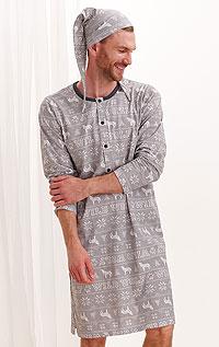 Litex Noční košile pánská s čepičkou. - vel. XL tisk